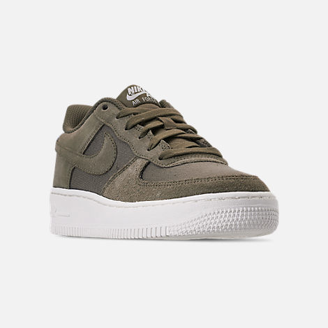 Three Quarter view of Boys' Big Kids' Nike Air Force 1 Suede Casual Shoes in Medium Olive/Medium Olive/Sail