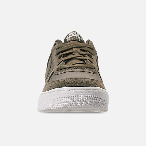 Front view of Boys' Big Kids' Nike Air Force 1 Suede Casual Shoes in Medium Olive/Medium Olive/Sail
