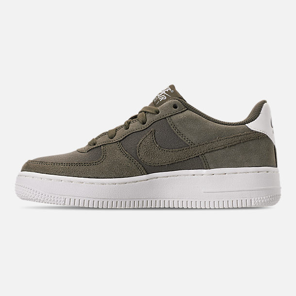 Left view of Boys' Big Kids' Nike Air Force 1 Suede Casual Shoes in Medium Olive/Medium Olive/Sail
