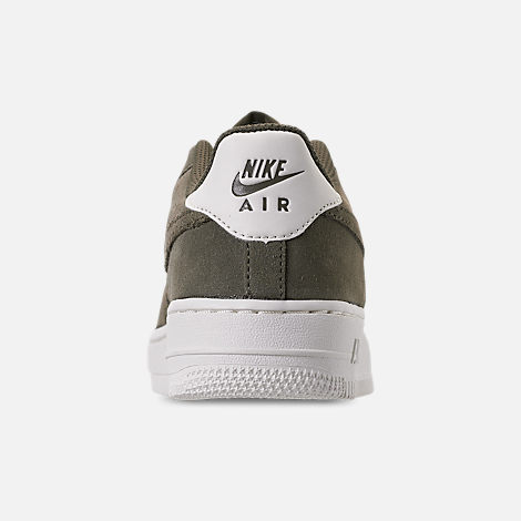 Back view of Boys' Big Kids' Nike Air Force 1 Suede Casual Shoes in Medium Olive/Medium Olive/Sail