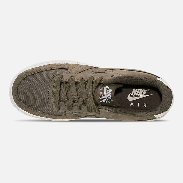 Top view of Boys' Big Kids' Nike Air Force 1 Suede Casual Shoes in Medium Olive/Medium Olive/Sail