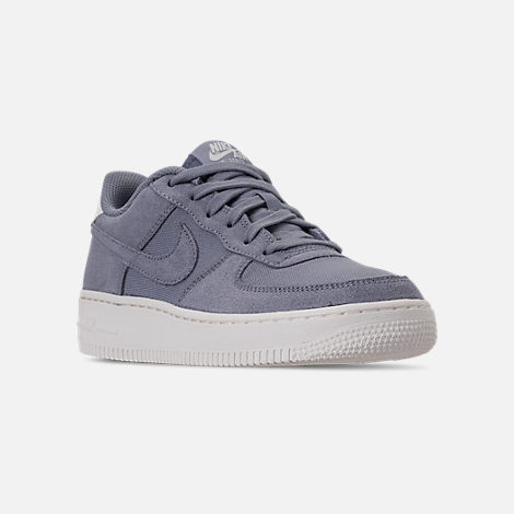 Three Quarter view of Boys' Big Kids' Nike Air Force 1 Suede Casual Shoes in Ashen Slate/Ashen Slate/Sail