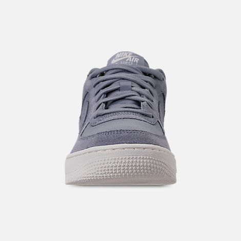 Front view of Boys' Big Kids' Nike Air Force 1 Suede Casual Shoes in Ashen Slate/Ashen Slate/Sail