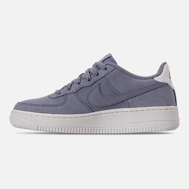 Left view of Boys' Big Kids' Nike Air Force 1 Suede Casual Shoes in Ashen Slate/Ashen Slate/Sail