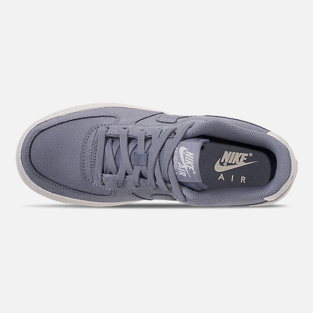 Top view of Boys' Big Kids' Nike Air Force 1 Suede Casual Shoes in Ashen Slate/Ashen Slate/Sail