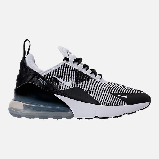Right view of Boys' Grade School Nike Air Max 270 KJCRD Casual Shoes in Black/White/Cool Grey/Metallic Silver