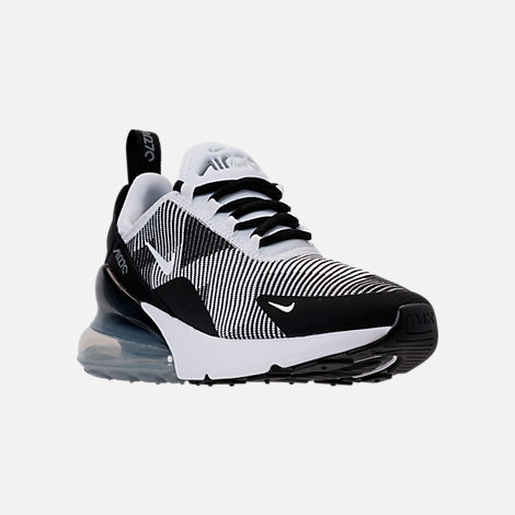 Three Quarter view of Boys' Big Kids' Nike Air Max 270 KJCRD Casual Shoes in Black/White/Cool Grey/Metallic Silver