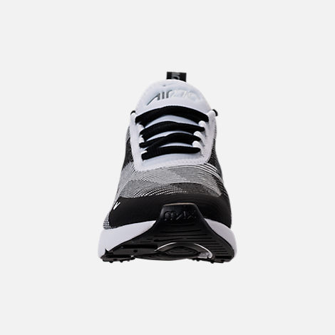 Front view of Boys' Grade School Nike Air Max 270 KJCRD Casual Shoes in Black/White/Cool Grey/Metallic Silver