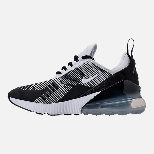 Left view of Boys' Grade School Nike Air Max 270 KJCRD Casual Shoes in Black/White/Cool Grey/Metallic Silver