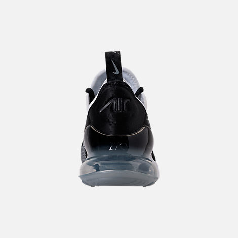 Back view of Boys' Grade School Nike Air Max 270 KJCRD Casual Shoes in Black/White/Cool Grey/Metallic Silver