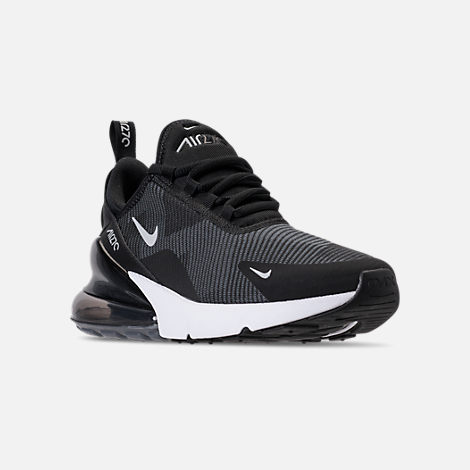 Three Quarter view of Boys' Big Kids' Nike Air Max 270 KJCRD Casual Shoes in Black/Wolf Grey/Dark Grey/White