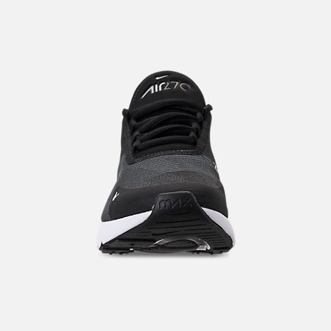 Front view of Boys' Big Kids' Nike Air Max 270 KJCRD Casual Shoes in Black/Wolf Grey/Dark Grey/White