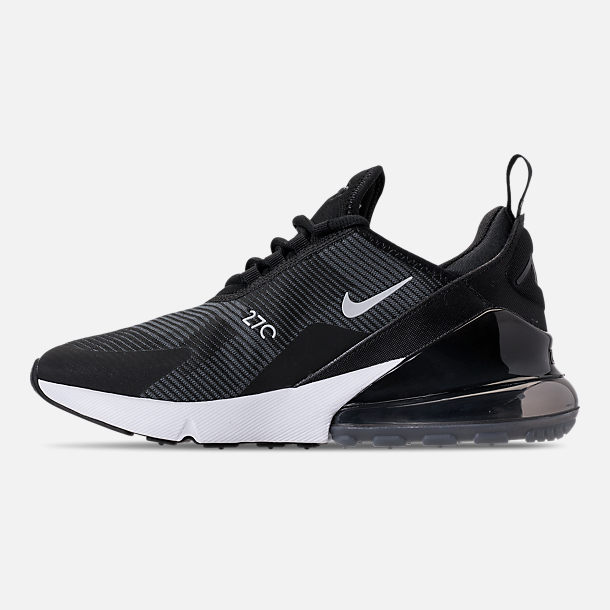 Left view of Boys' Big Kids' Nike Air Max 270 KJCRD Casual Shoes in Black/Wolf Grey/Dark Grey/White