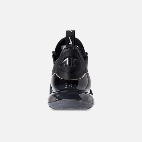 Back view of Boys' Big Kids' Nike Air Max 270 KJCRD Casual Shoes in Black/Wolf Grey/Dark Grey/White