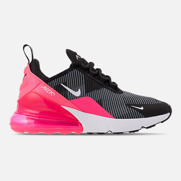 Right view of Girls' Big Kids' Nike Air Max 270 KJCRD Casual Shoes in Black/White/Racer Pink/Cool Grey
