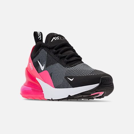 Three Quarter view of Girls' Big Kids' Nike Air Max 270 KJCRD Casual Shoes in Black/White/Racer Pink/Cool Grey