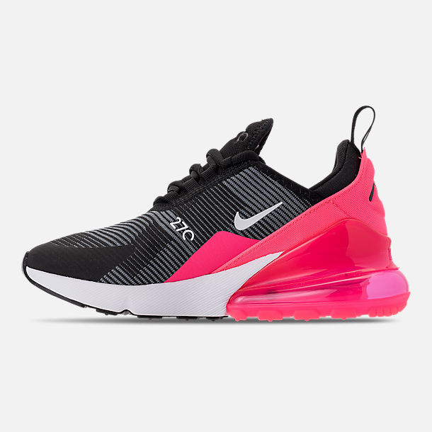Left view of Girls' Big Kids' Nike Air Max 270 KJCRD Casual Shoes in Black/White/Racer Pink/Cool Grey