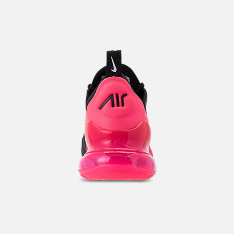 Back view of Girls' Big Kids' Nike Air Max 270 KJCRD Casual Shoes in Black/White/Racer Pink/Cool Grey