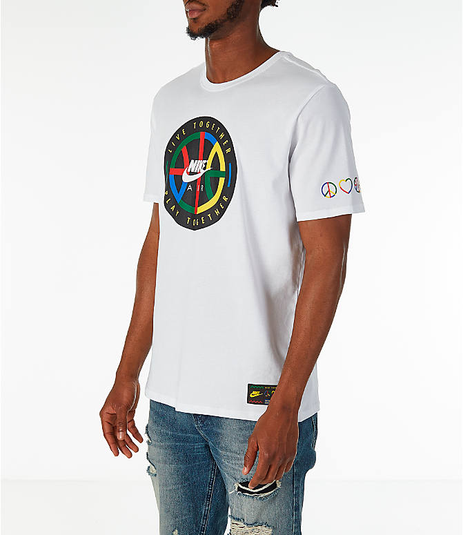 Front Three Quarter view of Men's Nike Sportswear NYC Wildcard T-Shirt in White