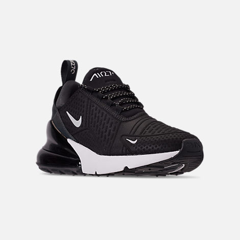 Three Quarter view of Women's Nike Air Max 270 SE Casual Shoes in Black/Summit White/Black/Anthracite