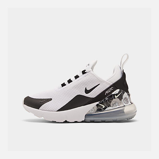 Right view of Women's Nike Air Max 270 SE Casual Shoes in White/Black/Metallic Silver