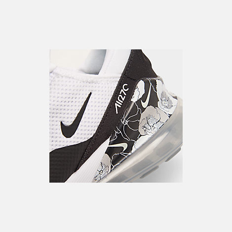Front view of Women's Nike Air Max 270 SE Casual Shoes in White/Black/Metallic Silver