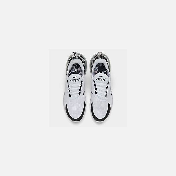 Back view of Women's Nike Air Max 270 SE Casual Shoes in White/Black/Metallic Silver