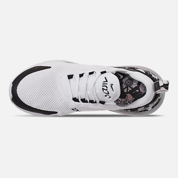Top view of Women's Nike Air Max 270 SE Casual Shoes in White/Black/Metallic Silver