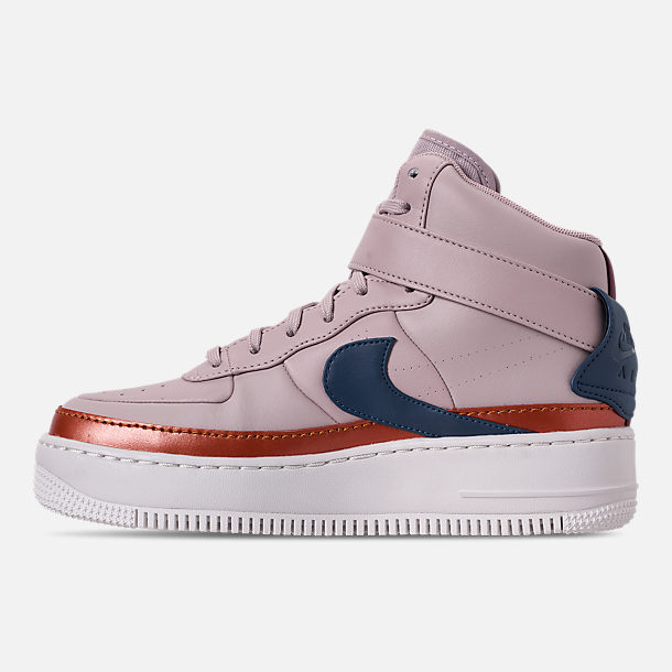 Left view of Women's Nike AF1 Jester High XX Casual Shoes in Violet Ash/Blue Force/Night Maroon