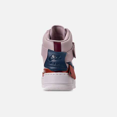 Back view of Women's Nike AF1 Jester High XX Casual Shoes in Violet Ash/Blue Force/Night Maroon