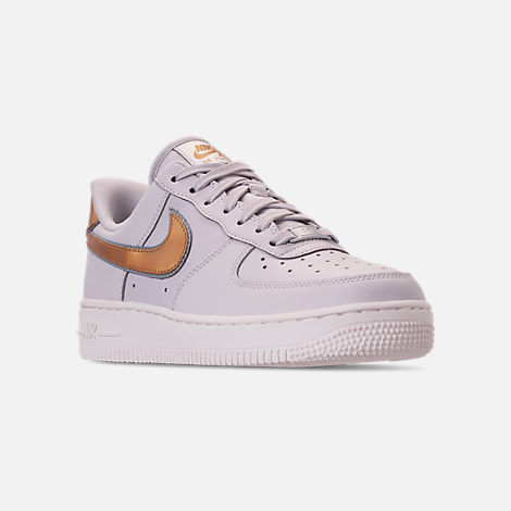 Three Quarter view of Women's Nike Air Force 1 '07 Metallic Casual Shoes in Vast Grey/Metallic Gold/Summit White