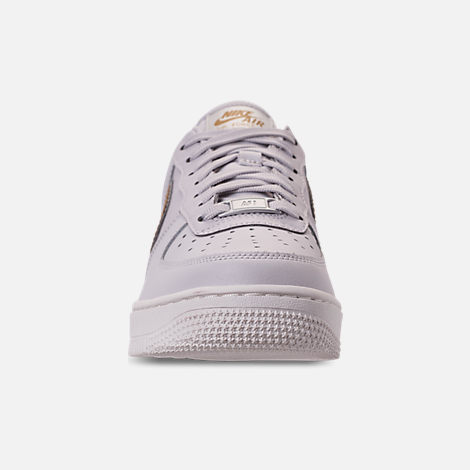 Front view of Women's Nike Air Force 1 '07 Metallic Casual Shoes in Vast Grey/Metallic Gold/Summit White