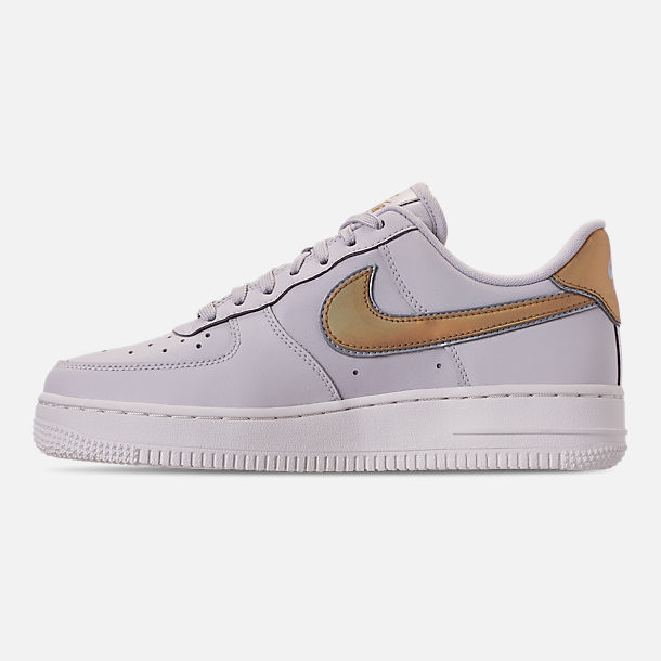 Left view of Women's Nike Air Force 1 '07 Metallic Casual Shoes in Vast Grey/Metallic Gold/Summit White
