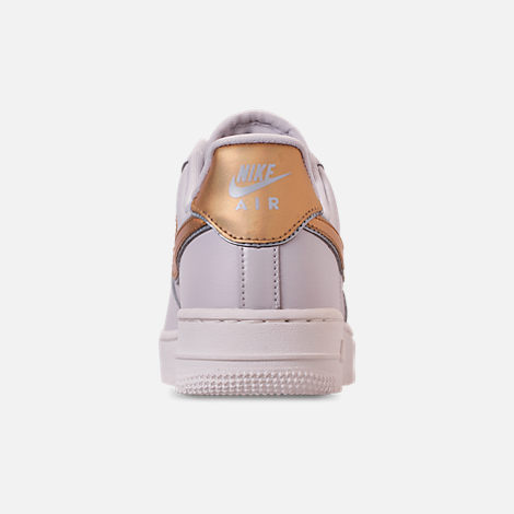 Back view of Women's Nike Air Force 1 '07 Metallic Casual Shoes in Vast Grey/Metallic Gold/Summit White