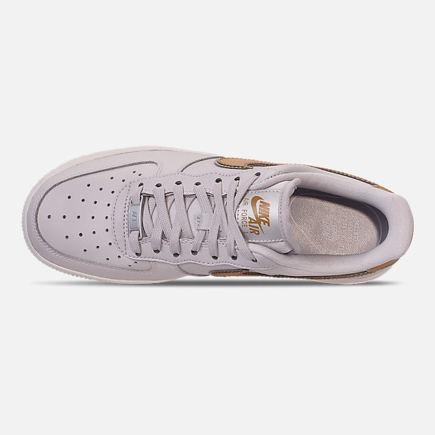 Top view of Women's Nike Air Force 1 '07 Metallic Casual Shoes in Vast Grey/Metallic Gold/Summit White