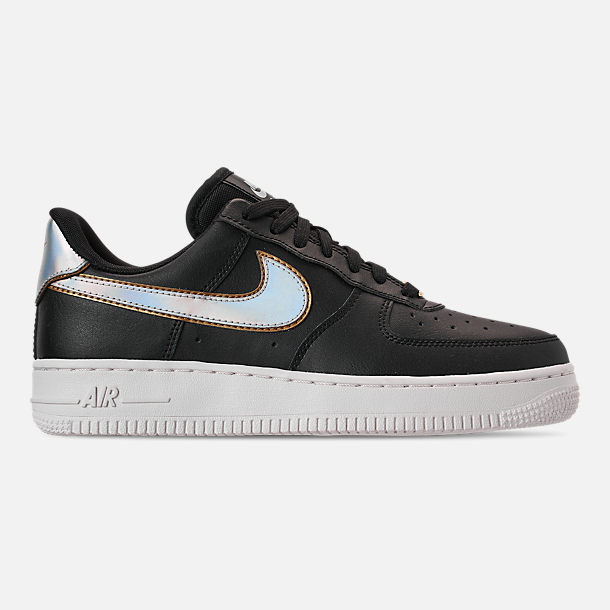 Right view of Women's Nike Air Force 1 '07 Metallic Casual Shoes in Black/Metallic Platinum/Summit White