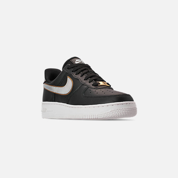 Three Quarter view of Women's Nike Air Force 1 '07 Metallic Casual Shoes in Black/Metallic Platinum/Summit White