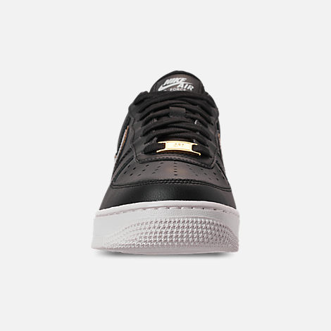 Front view of Women's Nike Air Force 1 '07 Metallic Casual Shoes in Black/Metallic Platinum/Summit White