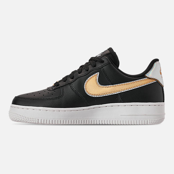 Left view of Women's Nike Air Force 1 '07 Metallic Casual Shoes in Black/Metallic Platinum/Summit White