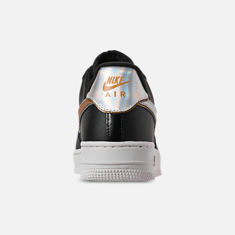 Back view of Women's Nike Air Force 1 '07 Metallic Casual Shoes in Black/Metallic Platinum/Summit White