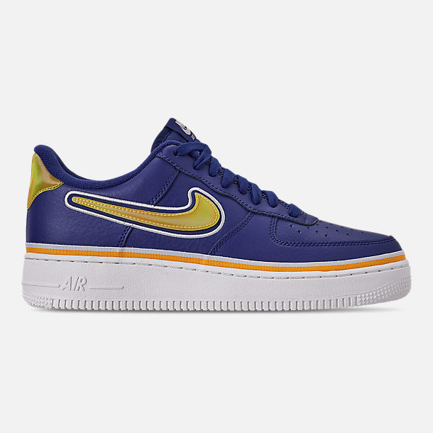 Right view of Boys' Big Kids' Nike Air Force 1 '07 LV8 Sport Casual Shoes in Deep Royal/University Gold/Off White