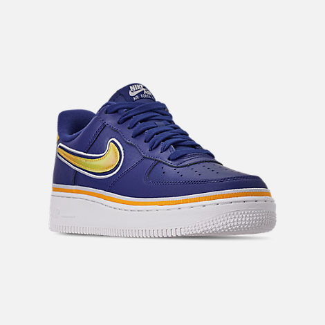 Three Quarter view of Boys' Big Kids' Nike Air Force 1 '07 LV8 Sport Casual Shoes in Deep Royal/University Gold/Off White