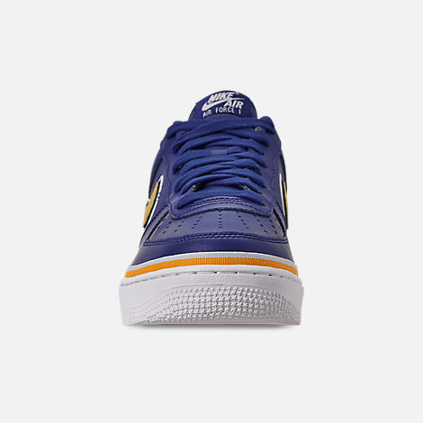 Front view of Boys' Big Kids' Nike Air Force 1 '07 LV8 Sport Casual Shoes in Deep Royal/University Gold/Off White