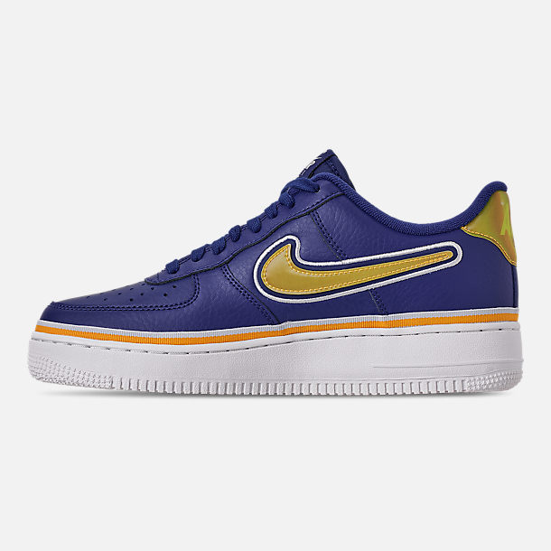 Left view of Boys' Big Kids' Nike Air Force 1 '07 LV8 Sport Casual Shoes in Deep Royal/University Gold/Off White