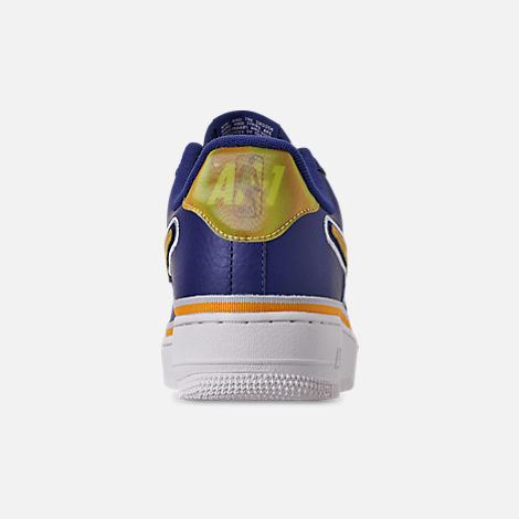 Back view of Boys' Big Kids' Nike Air Force 1 '07 LV8 Sport Casual Shoes in Deep Royal/University Gold/Off White