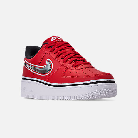Three Quarter view of Boys' Big Kids' Nike Air Force 1 '07 LV8 Sport Casual Shoes in Varsity Red/Black/White