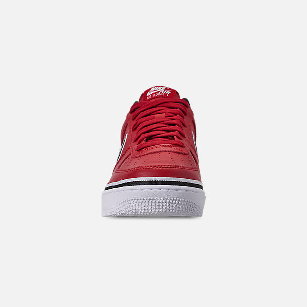 Front view of Boys' Big Kids' Nike Air Force 1 '07 LV8 Sport Casual Shoes in Varsity Red/Black/White