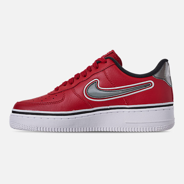 Left view of Boys' Big Kids' Nike Air Force 1 '07 LV8 Sport Casual Shoes in Varsity Red/Black/White