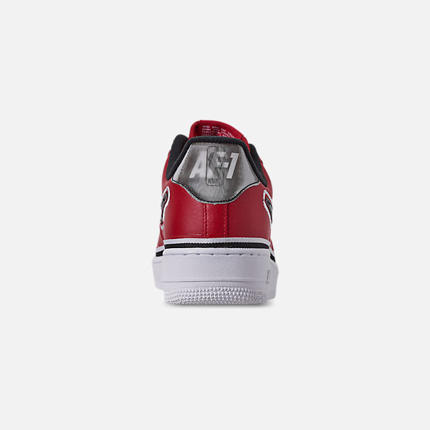 Back view of Boys' Big Kids' Nike Air Force 1 '07 LV8 Sport Casual Shoes in Varsity Red/Black/White