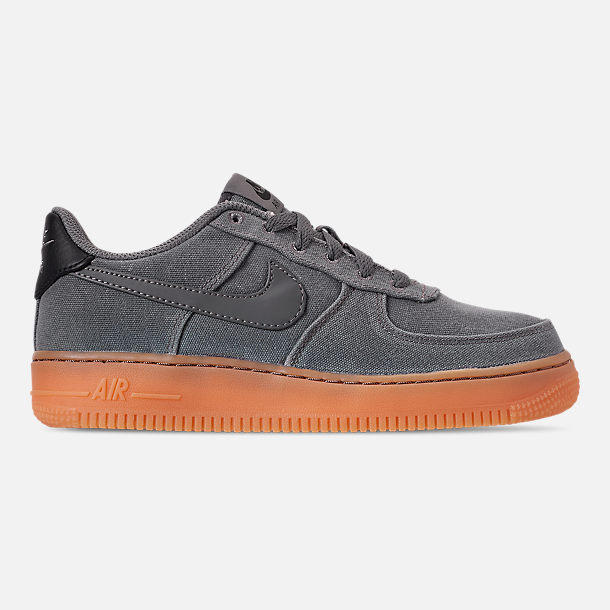 Right view of Boys' Big Kids' Nike Air Force 1 '07 LV8 Style Casual Shoes in Black/Black/Gum Medium Brown